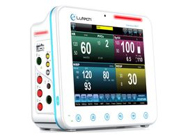 Datalys 807 patient monitor with color block user interface design.