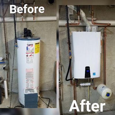 Tankless Water Heater Install - 40 Gallon Powervent to Navien 240A