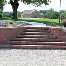 Retaining wall. Landscape steps.
