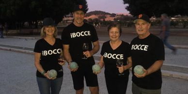 bocce ball players playing in a bocce ball league tournament