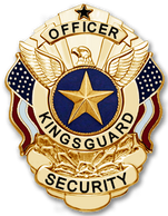 Kingsguard Security gold medal badge showing a winged eagle over a gold star on a field of blue