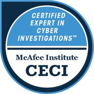 McAfee Institute Board Certified Expert in Cyber Investigations Badge