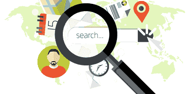 Animated internet investigation graphic of a magnifying glass over a search bar