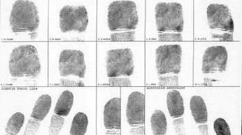 FBI Applicant Card graphic completed with prints of all ten fingers