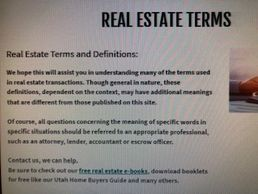 real estate terms to know, Utah real estate terms for buying and selling a home in Utah