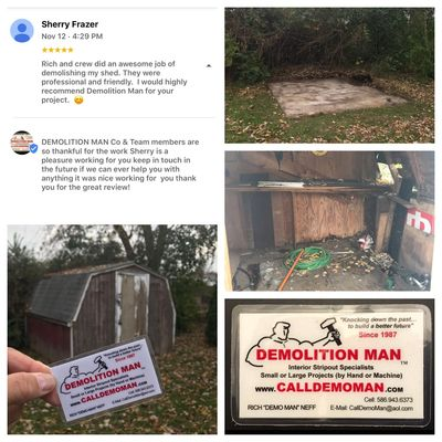 Shed demolition  • Client review  • Shed dismantle • Load all material