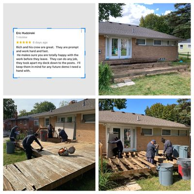 Deck demolition by DEMOLITION MAN with client review & photos before , during, after