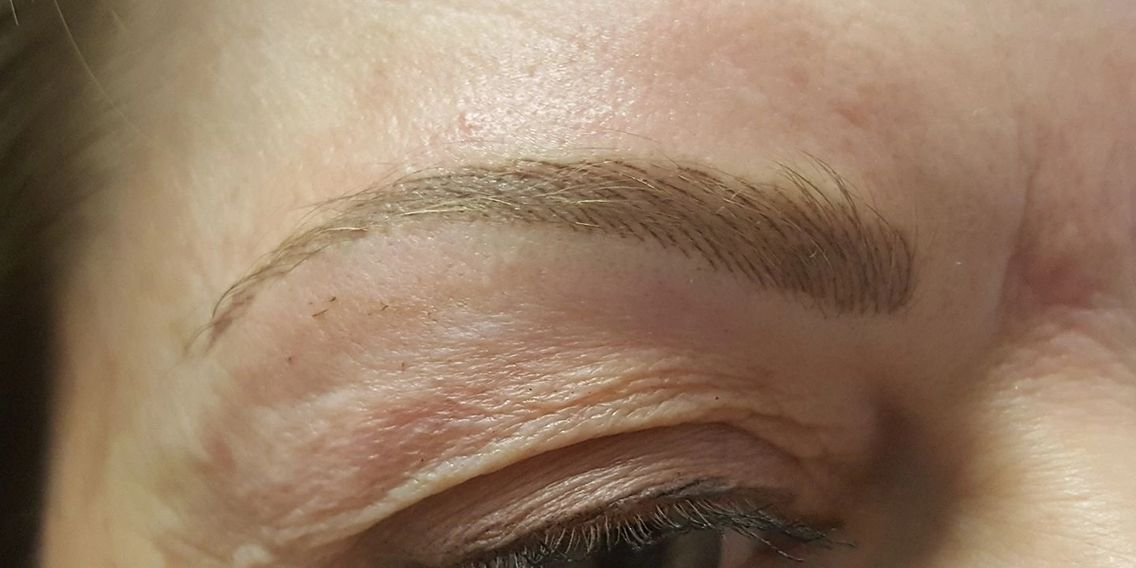 Hairstroke (Microblade) brows immediately after, these will heal just a bit softer and lighter.