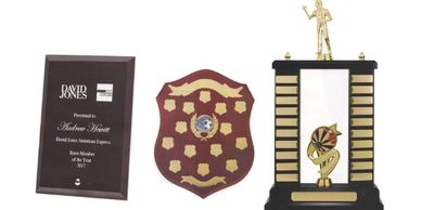 Glass and timber plaques, timber shields and perpetuals