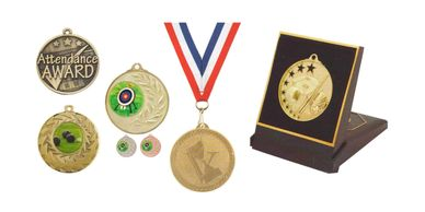 Examples of medals, medals gift box and neck ribbons