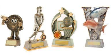 Resin trophies for sports and related activities.