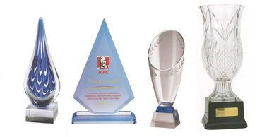 Stylish glass, crystal and acrylic corporate awards and trophy cups