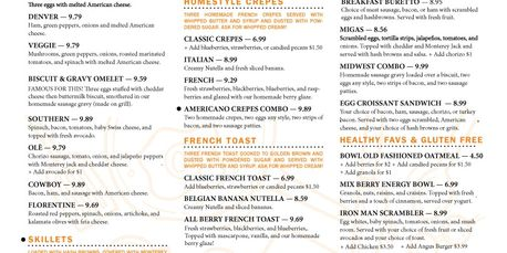 Best Breakfast in Denton... Here is a menu for you to select from.