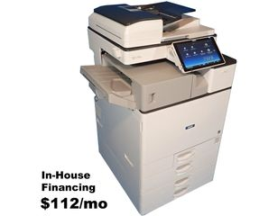 Savin MP C2504ex used color multi-function copier, printer, scanner, fax, sort, staple for sale. Low