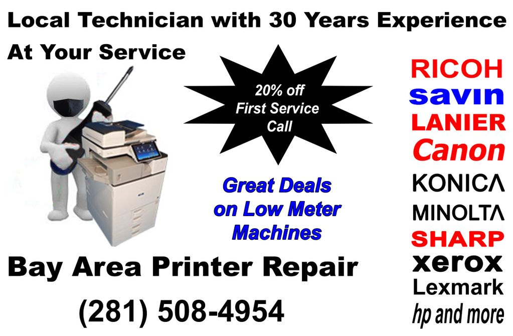 Local technician with 30 years experience at your service. Ricoh, Savin, Lanier.