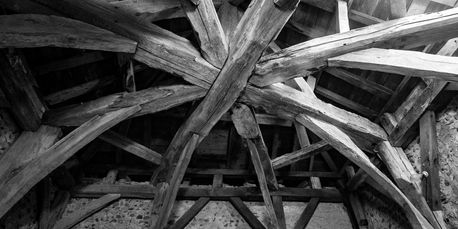 Medieval roof trusses in St Peter's tower