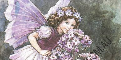 Heliotrope Fairy by Cicely Mary Barker from her Flower Fairies range.