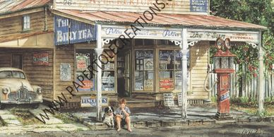 Staying for a Refund by Gordon Hanley depicting scene of small town Australia.