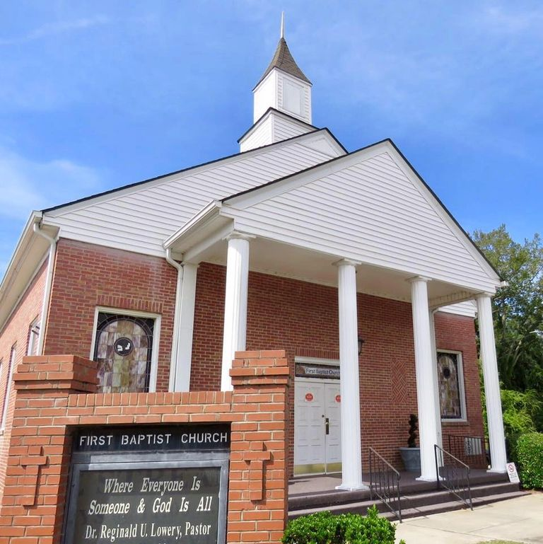 Front exterior and marquee of First Baptist Church located in Fuquay-Varina, North Carolina.