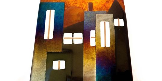 Cityscape -Irid and opaque glass and frit.