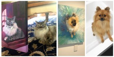 Delilah and Felix with their acrylic paintings