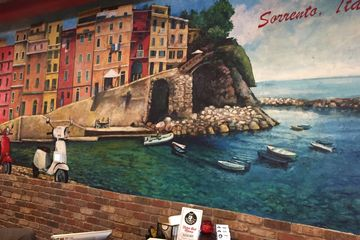 Hand painted mural of Sorrento Italy at Sorrento's Italian restaurant in Norwood Ohio.