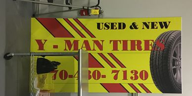 Tire store front aluminum panel sign