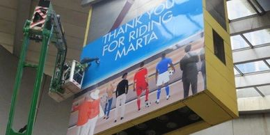 Wall wrap on 40 ft by 40 ft Marta Station Screen