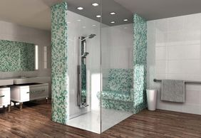 Wedi Wetroom Solutions walk in shower mosaic shower seat glass panel