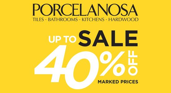 Porcelanosa Sale now on Ringwood Hampshire up to 40% off