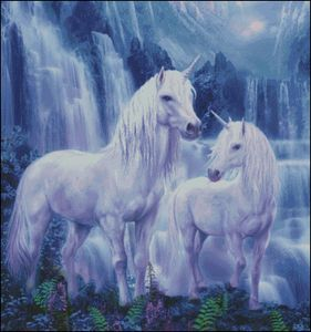 Waterfall Unicorns Counted Cross Stitch Pattern   Original Artwork © Jan Patrik Krasny, Artist