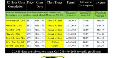 Elite Driving School Humble Teen Drivers Ed course schedule for 2019. Elite Teen Courses 2019.