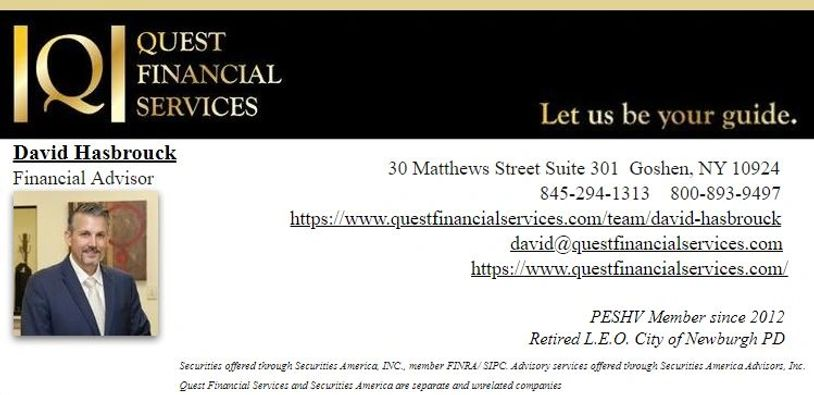 David Hasbrouck is a Financial Advisor with Quest Financial Services and a retired Police Officer.