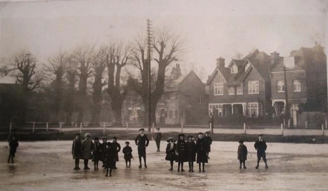 The trees and houses on the left in this photo were knocked down when Hampton Court Way was built in