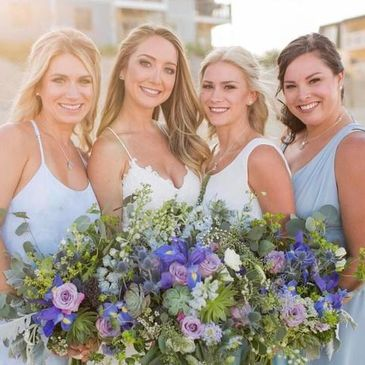 Destination wedding, bridesmaids, bride, outer banks bride, obx bride, florals