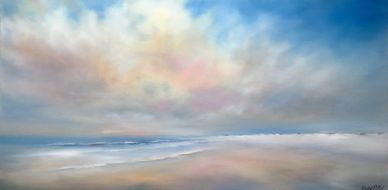 Quiet Beach Morning 20x40 oil painting by Nancy Hughes Miller, North Carolina USA landscape artist