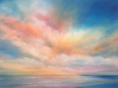 Contemporary Landscape painting, Shoreline Sky 30x40 by North Carolina artist Nancy Hughes Miller