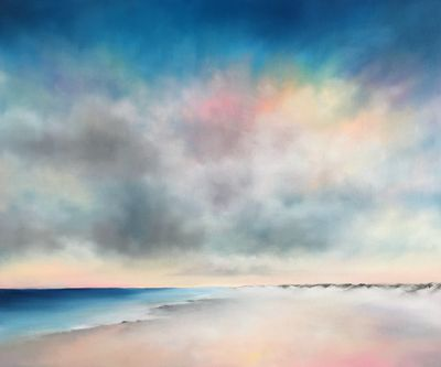 Contemporary, modern, colorful, atmospheric, coastal landscape paintings by Nancy Hughes Miller