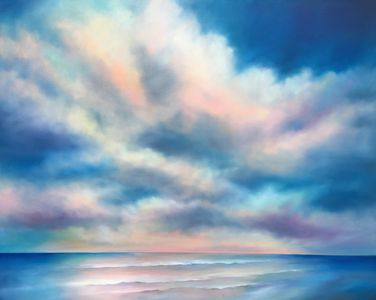 Shoreline Morning 48x60 inches is a large contemporary coastal landscape painting