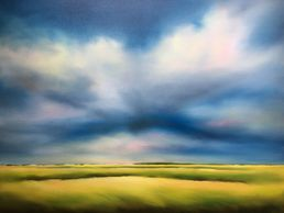 Contemporary landscape oil paintings by emerging US artist Nancy Hughes Miller colorful and soothing
