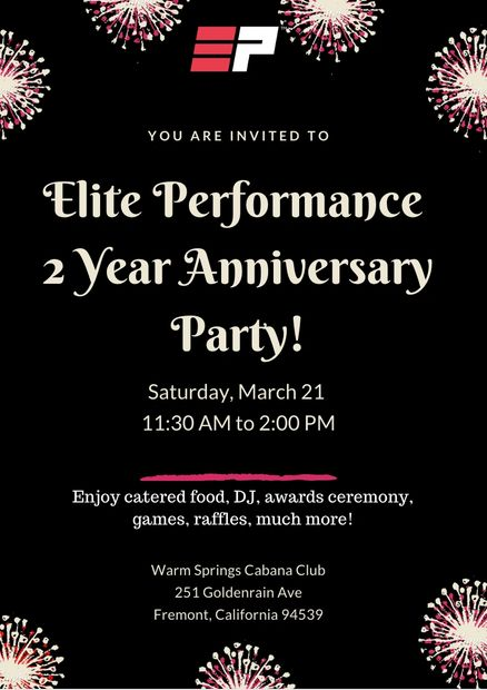 Elite Performance is turning 2 YEARS OLD!  We can't believe time has past so fast!   We will like to