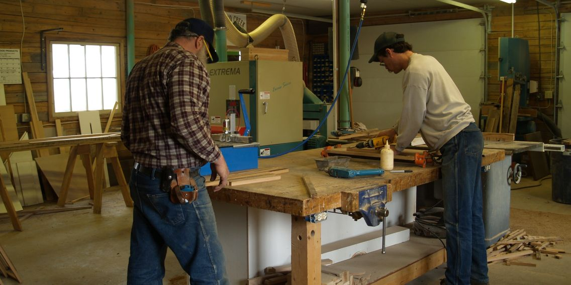Whitefish Montana cabinet shop building custom reclaimed oak face frames.