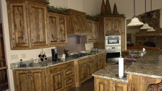 Custom barnwood kitchen cabinets Lakeside Montana face frame construction