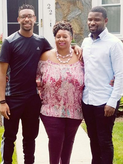 Beverly Bruin and her sons Cameron and Robert
