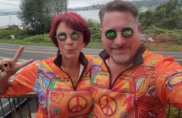 Sublimated, full-color quarter zip technical running shirts at the Hippie Half in Washington State.