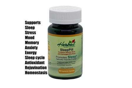 SleepPill.  Natural herbal sleep aid made from carefully selected finest herbs. Valerian root and Ashwagandha.