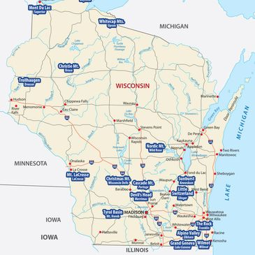 Wisconsin map with 17 participating ski areas