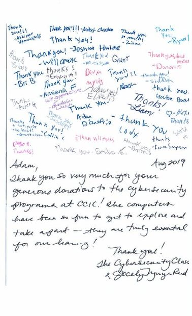 Thank you note from Cybersecurity Class