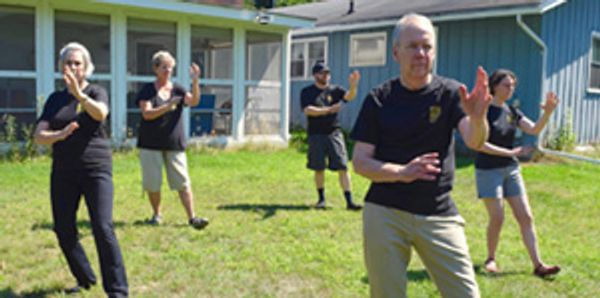 Group of 5 people practice Tai Chi in a back yard.