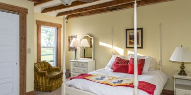 The farmhouse bedrooms are a great haven away in the rural setting, overlooking rolling farmland.